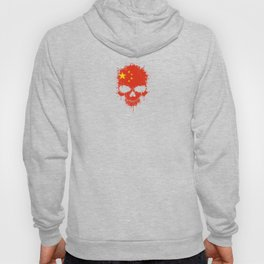 Flag of China on a Chaotic Splatter Skull Hoody