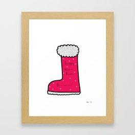 Snuggly Winter Boots Framed Art Print