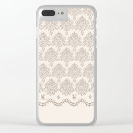 """Damask """"Cafe au Lait"""" Chenille with Lacy Edge Clear iPhone Case"""