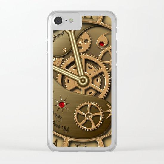 Steampunk clock gold Clear iPhone Case