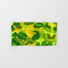 Kiwi and Lemon Slices in a Drink - Oil painting Hand & Bath Towel