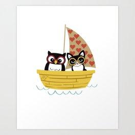 Owl & Pussycat in Their Loveboat Art Print