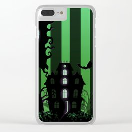 Be it ever so Haunted, there's no place like Home - Green Clear iPhone Case