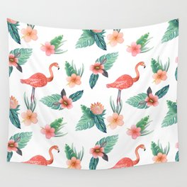 Flamingo Coral Exotic Floral with palms , hibiscus and protea Wall Tapestry