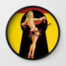 Peter Driben Pin-Up In Handkerchief Bikini Wall Clock