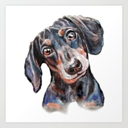 Dachshund sausage dog painting Art Print