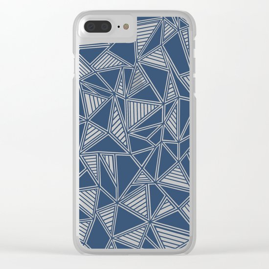Abstract Outline Lines Navy Clear iPhone Case