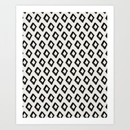 Modern Diamond Pattern 2 Black on Light Gray Art Print