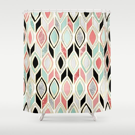 Patchwork Pattern In Coral Mint Black Amp White Shower