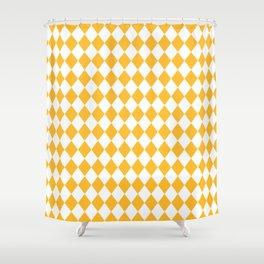 Butter Yellow Modern Diamond Pattern Shower Curtain