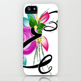 Names,letters,calligraphy,personalised gift ideas.Letter  E iPhone Case