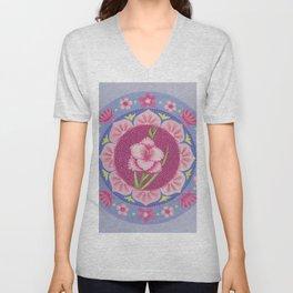 Pretty Pink Flowers Mandala Unisex V-Neck