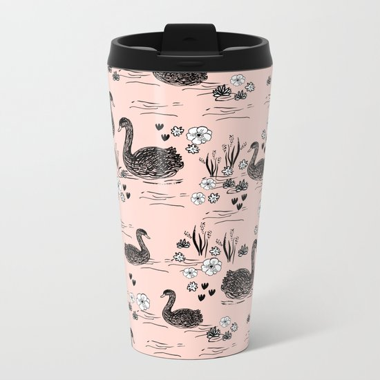 Swans painting cute girly trend cell phone case with swans pattern florals hand painted blush Metal Travel Mug