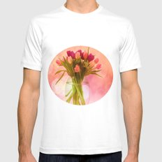 A Bloom for Spring White MEDIUM Mens Fitted Tee