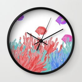 Modern nautical coral teal floral reef colorful fish Wall Clock