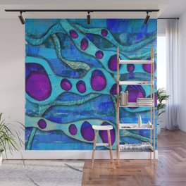 The Rhodey - Abstract, Patterned Blue and Purple Wall Mural