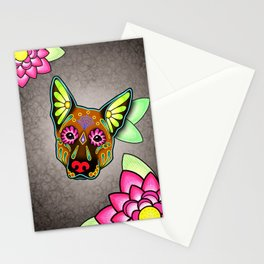 German Shepherd in Brown - Day of the Dead Sugar Skull Dog Stationery Cards
