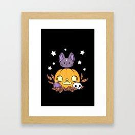 Pumpkin Cats Son // Black Framed Art Print