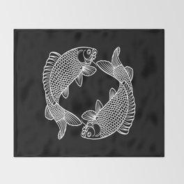 Black White Koi Throw Blanket