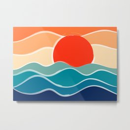 Retro 70s and 80s Color Palette Mid-Century Minimalist Nature Waves and Sun Abstract Art Metal Print