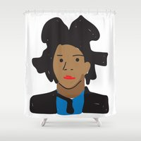 basquiat Shower Curtains featuring Basquiat by John Sailor
