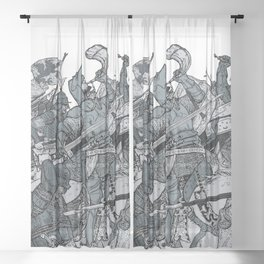 Saturday Knight Special STEEL BLUE / Vintage illustration redrawn and repurposed Sheer Curtain