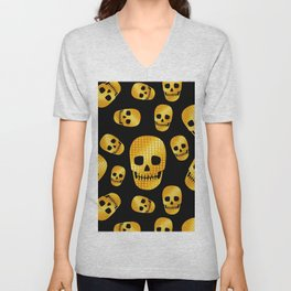 Golden skull on black Unisex V-Neck