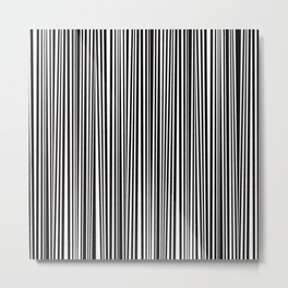 Simply small black and white handrawn stripes - vertical - Mix & Match with Simplicty of life Metal Print