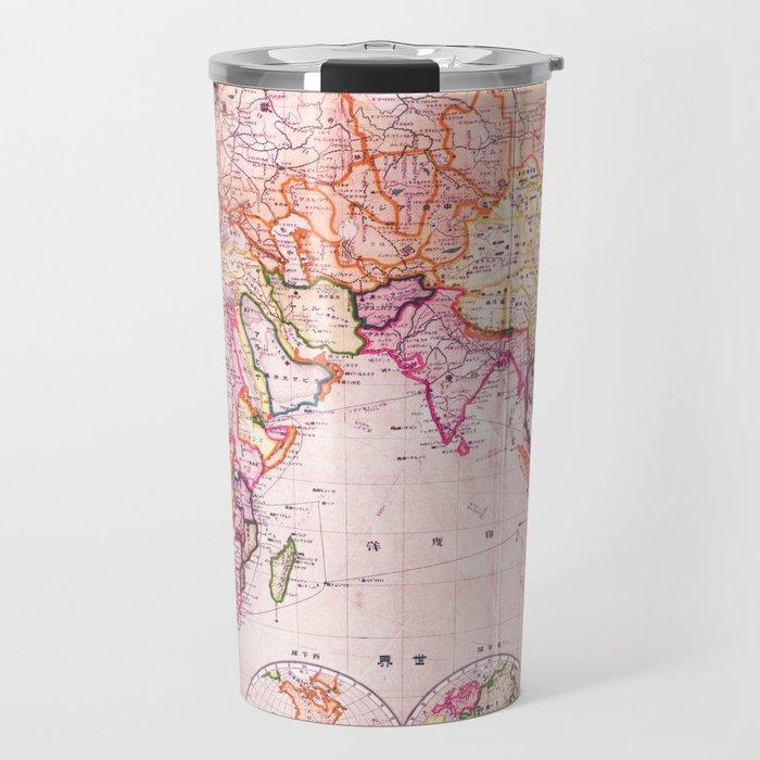 vintage map pattern travel mug by mapmaker society6
