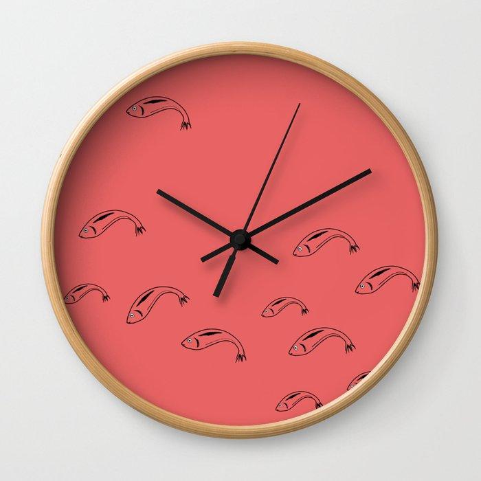 Salmon Sardines Wall Clock