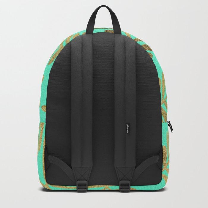 Leaflets – Turquoise & Gold Backpack