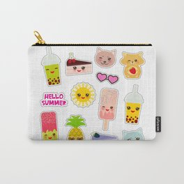 Hello Summer. Pineapple, cherry smoothie cup, ice cream, sun, cat, cake, hamster. Kawaii cute face. Carry-All Pouch