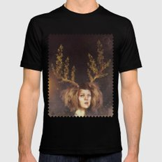 The Golden Antlers Black Mens Fitted Tee MEDIUM