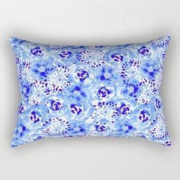 Watercolor Bouquet in Pottery Blue Indigo Rectangular Pillow