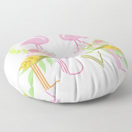 Pink Flamingos & flowers Love typography Floor Pillow