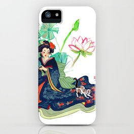 Geisha and cat iPhone Case