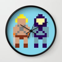 skeletor Wall Clocks featuring He-Man and Skeletor by Pixel Icons