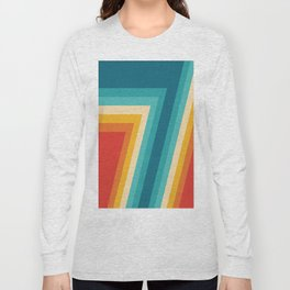 Colorful Retro Stripes  - 70s, 80s Abstract Design Long Sleeve T-shirt