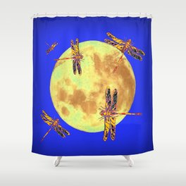 Golden Dragonflies Love Moon Light Shower Curtain