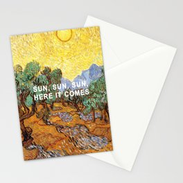 Here Comes the Yellow Sky and Sun Stationery Cards