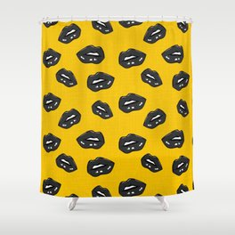 Lips black yellow popart Shower Curtain