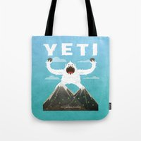 yeti Tote Bags featuring Yeti by Artificial primate
