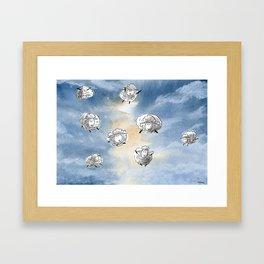 Digital Sheep in a Watercolor Sky Framed Art Print