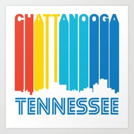 Retro 1970's Style Chattanooga Tennessee Skyline Art Print