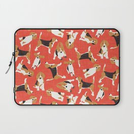 beagle scatter coral red Laptop Sleeve