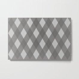 Pantone Pewter Gray Argyle Plaid Diamond Pattern Metal Print