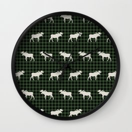 Moose northwest camping cabin chalet pattern plaid hunter green Wall Clock