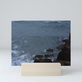 Turbulence - Waves Crashing on Rocks Mini Art Print
