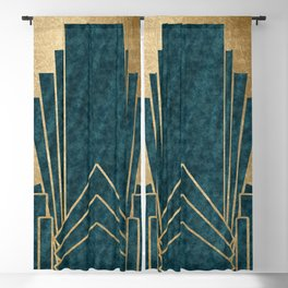 Art Deco glamour - teal and gold Blackout Curtain