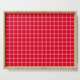 Cadmium red - purple color - White Lines Grid Pattern Serving Tray